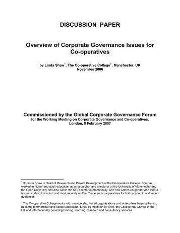Overview of Corporate Governance Issues for Co-operatives - IFC