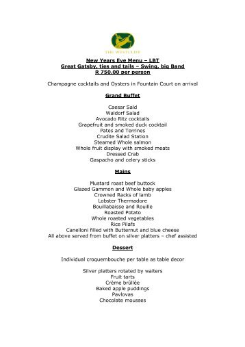 New Years Eve Menu – LBT Great Gatsby, ties and ... - Orient-Express