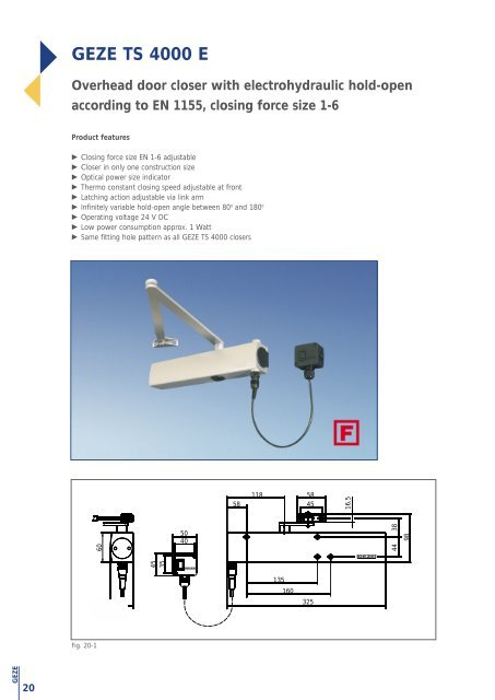 variable closing force size 1 to 6 GEZE TS4000 door closer