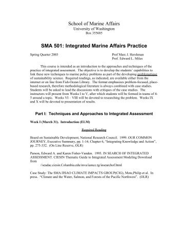 School of Marine Affairs SMA 501: Integrated Marine Affairs Practice