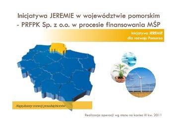 Inicjatywa JEREMIE - Agencja Rozwoju Pomorza SA
