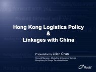 Hong Kong Logistics Policy & Linkages with China - TNSC