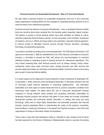 Financial Inclusion for Sustainable Development : Role of IT ... - CAB