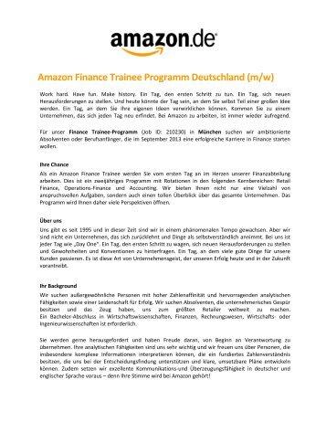 Amazon Finance Trainee Programm Deutschland (m/w)