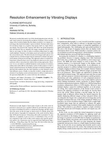 Resolution Enhancement by Vibrating Displays - Floraine Berthouzoz