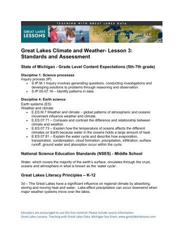 Standards and Assessment - Michigan Sea Grant