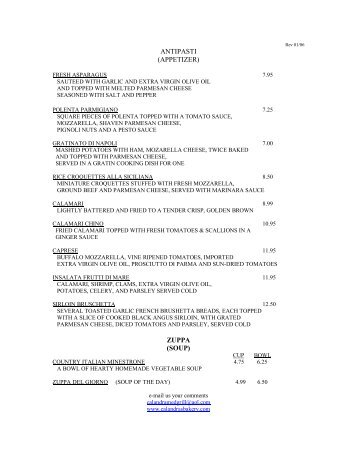 antipasti (appetizer) zuppa (soup) - Calandra Italian & French Bakery