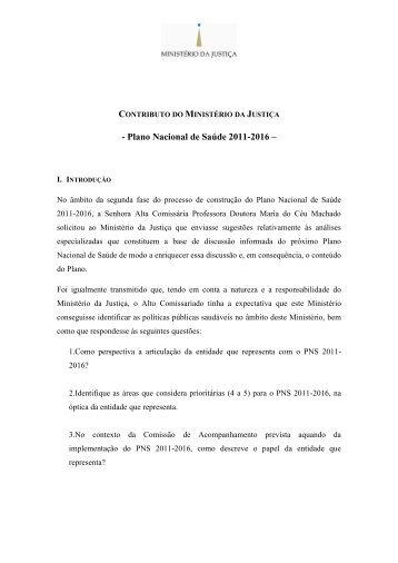contributo do ministério da justiça - Plano Nacional de Saúde 2012 ...