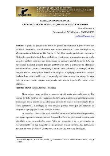Marta Rosa Borin - X Encontro Estadual de História – ANPUH-RS