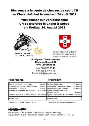 Programm und Liste der verkäuflichen Pferde - Zuchtverband CH ...
