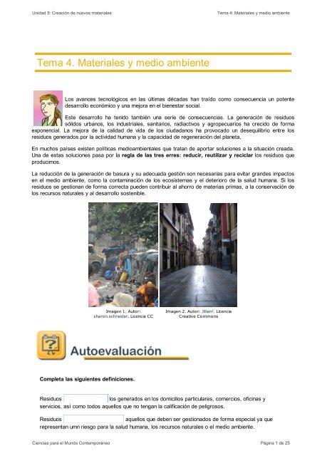 Tema 4. Materiales y medio ambiente - aulAragon