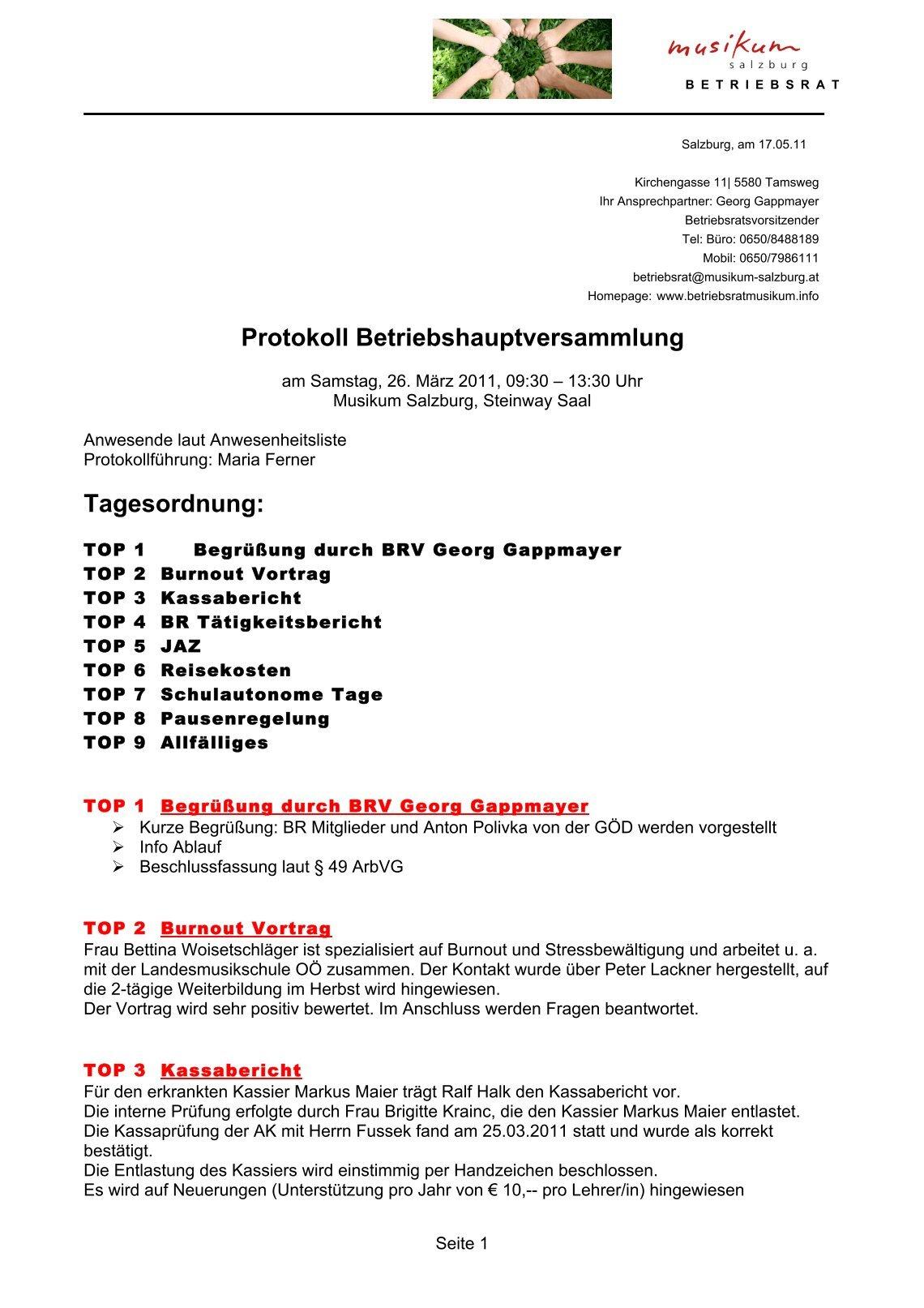 Wunderbar Protokollvorlage Für Die Hauptversammlung Ideen - Entry ...