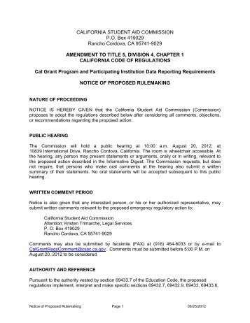 notice of proposed rulemaking - CSAC California Student Aid ...