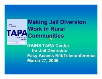 Making Jail Diversion Work in Rural Counties - SAMHSA'S GAINS ...