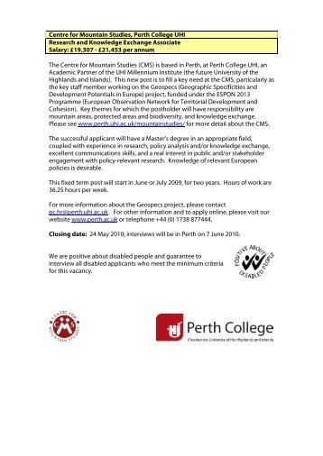 Curriculum Managers - Perth College - UHI Millennium Institute