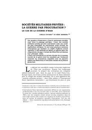 sociétés militaires privées : la guerre par procuration - Recherches ...
