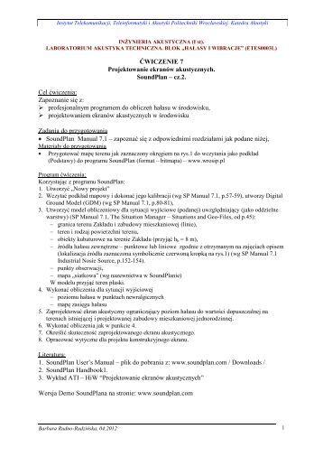 Projektowanie ekranów akustycznych (Soundplan) – cz.2 - Katedra ...
