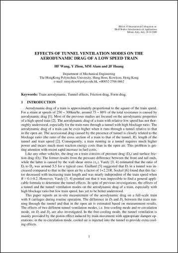 effects of tunnel ventilation modes on the aerodynamic ... - BBAA VI