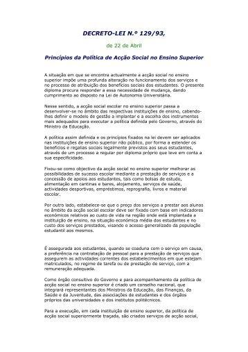 Decreto .Lei nº 129/93 - Instituto Politécnico de Portalegre