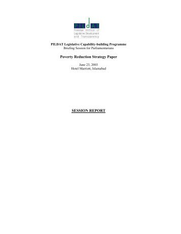 Poverty Reduction Strategy Paper SESSION REPORT - Pildat.org