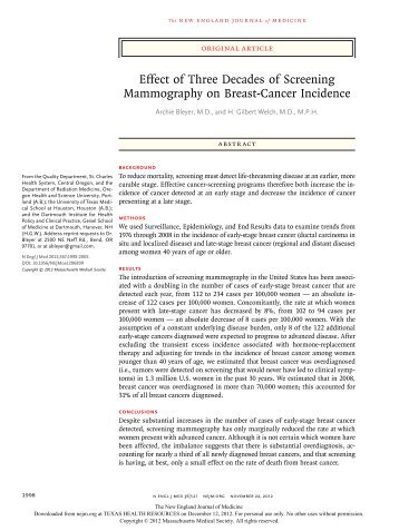 Effect of Three Decades of Screening Mammography on Breast ...