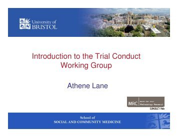 Introduction to the Trial Conduct Working Group - MRC Network of ...