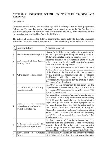 centrally sponsored scheme on fisheries training and ... - smallB