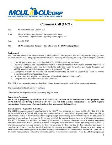 13-CC-21 CFPB - Amendments to 2013 Mortgage Rules