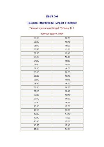 UBUS 705 Taoyuan International Airport Timetable