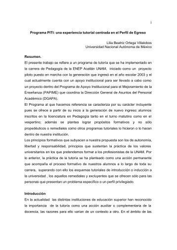1 Programa PITI: una experiencia tutorial centrada en el Perfil de ...
