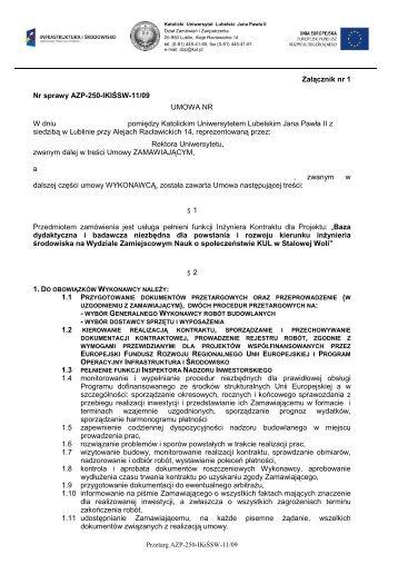 wzór umowy i protokołu odbioru - Lublin