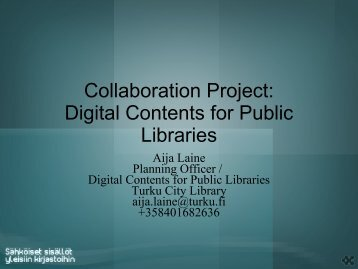 Digital Contents for public Libraries - Kirjastot.fi