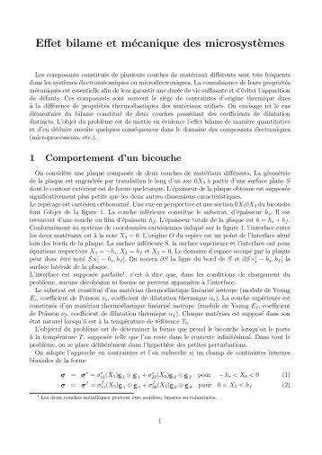 Effet bilame et mécanique des microsyst`emes - mms2
