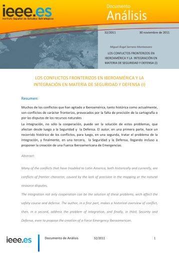 LOS CONFLICTOS FRONTERIZOS EN IBEROAMÉRICA Y ... - IEEE