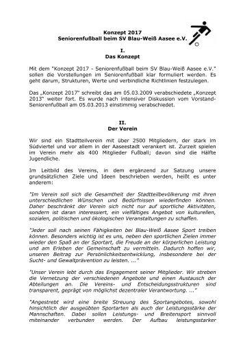 Konzept 2017 Seniorenfußball beim SV Blau-Weiß Aasee e.V. I. Das ...