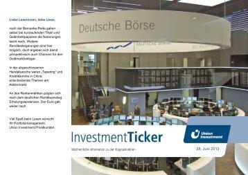 InvestmentTicker Märkte 26. Kalenderwoche - Union Investment