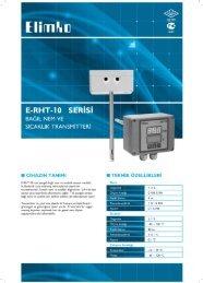 E-RHT-l 0 SERİSİ BAĞıL NEM vE sıcAKLıK TRANsMiTTERi - Elimko