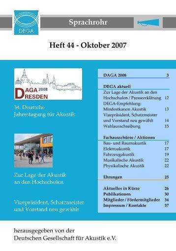 Sprachrohr 44 - Deutsche Gesellschaft für Akustik eV