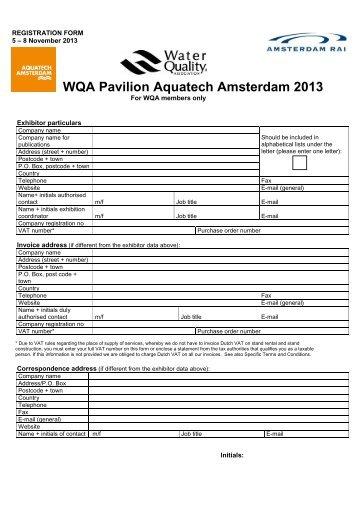 WQA Pavilion Aquatech Amsterdam 2013 - Aquatechtrade