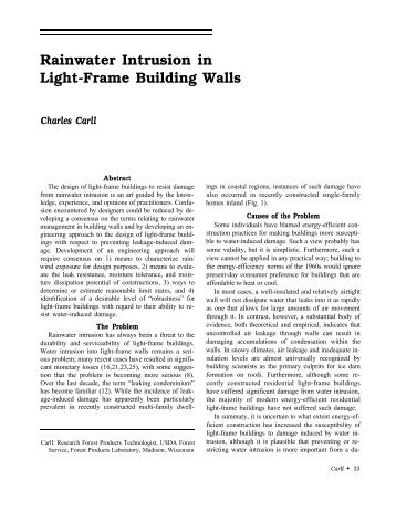 Rainwater Intrusion in Light-Frame Building Walls - Research Centers