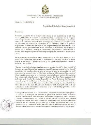 Carta enviada por Honduras a la ONU