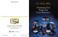 U.S. SEAL MFG. Swimming Pool Pump Seal Cross-Reference