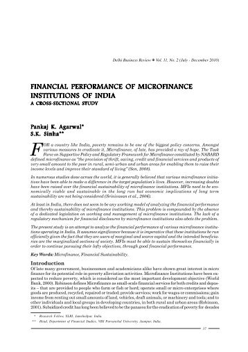 financial performance of microfinance institutions of india