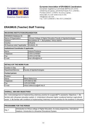 ERASMUS (Teacher) Staff Training - European Association for ...