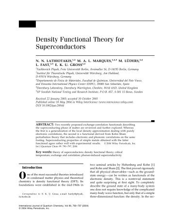 Density functional theory for superconductors - Max-Planck-Institut ...