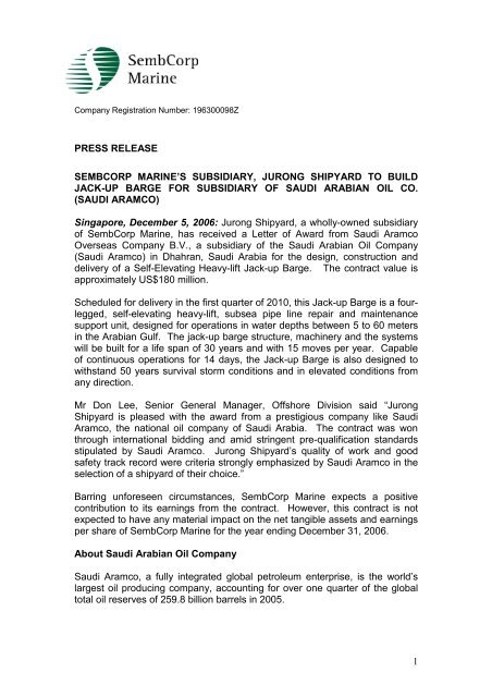 1 press release sembcorp marine's subsidiary, jurong