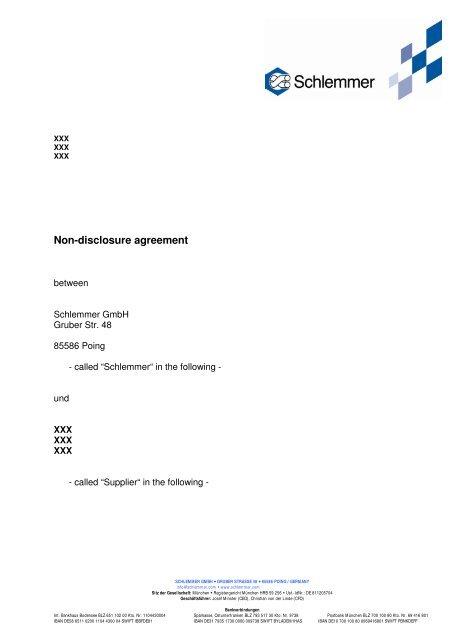 Non-disclosure agreement - Schlemmer