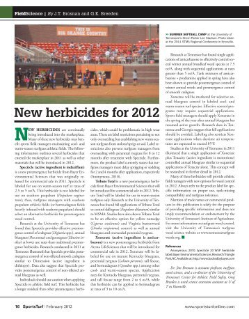New herbicides for 2012 - About SportsTurf