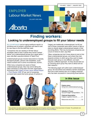 Calgary and Area Employer Labour Market News - January 2009