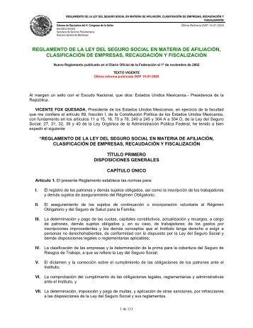 REGLAMENTO DE LA LEY DEL SEGURO SOCIAL EN ... - Conocer